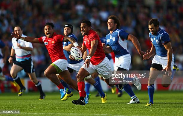 Telusa Veainu of Tonga runs at the Namibian defence during the 2015 Rugby World Cup Pool C match between Tonga and Namibia at Sandy Park on September...
