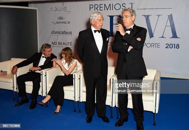 Telva magazine president Antonio FernandezGaliano and Mario Vargas Llosa attend Arts Sciences and Sports Telva Awards 2018 at Palau de Les Arts Reina...