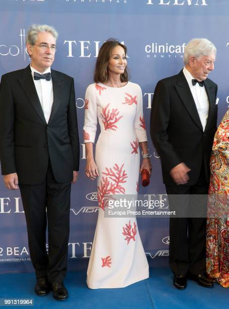 Telva magazine president Antonio FernandezGaliano Mario Vargas Llosa and Isabel Preysler attend Arts Sciences and Sports Telva Awards 2018 at Palau...