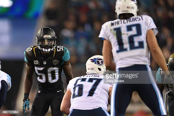Telvin Smith of the Jacksonville Jaguars anticipates a play during a game against the Tennessee Titans at EverBank Field on December 18 2014 in...