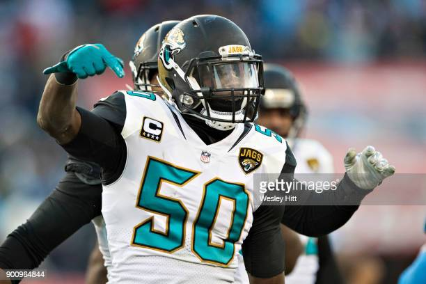 Telvin Smith of the Jacksonville Jaguars celebrates after a big play during a game against the Tennessee Titans at Nissan Stadium on December 31 2017...