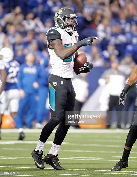 Telvin Smith of the Jacksonville Jaguars celebrates after intercepting a pass during the game against the Indianapolis Colts at Lucas Oil Stadium on...