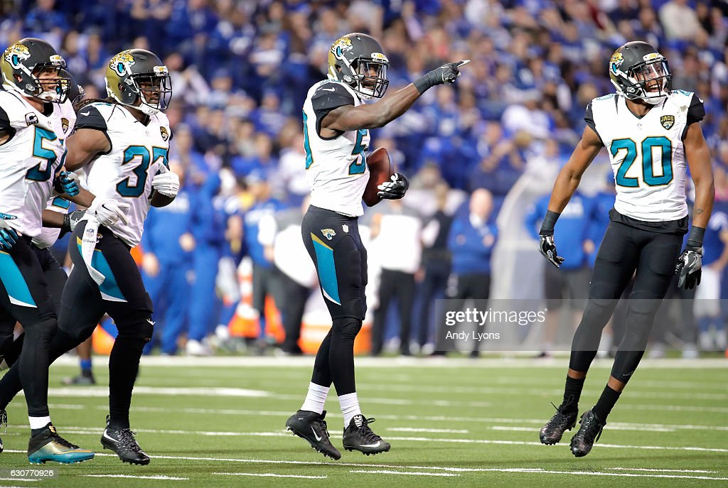 Telvin Smith #50 of the Jacksonville Jaguars celebrates after intercepting a pass during the game against the Indianapolis Colts at Lucas Oil Stadium on January 1, 2017 in Indianapolis, Indiana.