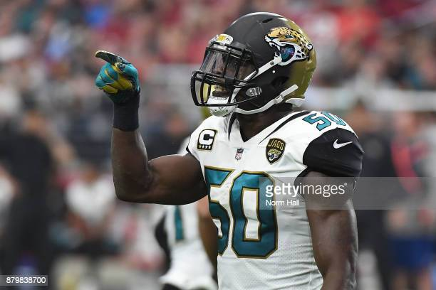 Telvin Smith of the Jacksonville Jaguars gestures on the field in the first half against the Arizona Cardinals at University of Phoenix Stadium on...