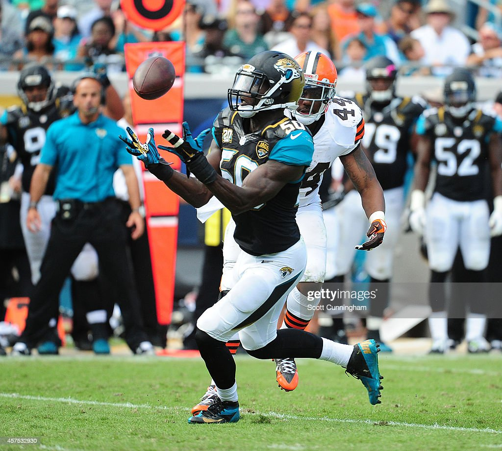Telvin Smith #50 of the Jacksonville Jaguars intercepts a pass intended for Ben Tate #44 of the Cleveland Browns at EverBank Field on October 19, 2014 in Jacksonville, Florida.
