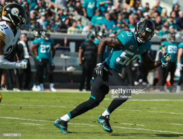 Telvin Smith of the Jacksonville Jaguars is seen during the first half against the Pittsburgh Steelers at TIAA Bank Field on November 18 2018 in...