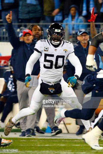 Telvin Smith of the Jacksonville Jaguars plays against the Tennessee Titans at Nissan Stadium on December 6 2018 in Nashville Tennessee