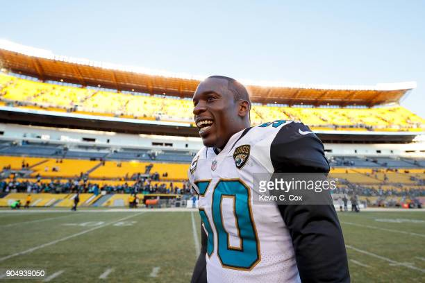 Telvin Smith of the Jacksonville Jaguars reacts after defeating the Pittsburgh Steelers in the AFC Divisional Playoff game at Heinz Field on January...