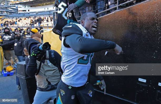 Telvin Smith of the Jacksonville Jaguars reacts as he walks off the field at the conclusion of the Jacksonville Jaguars 4542 win over the Pittsburgh...