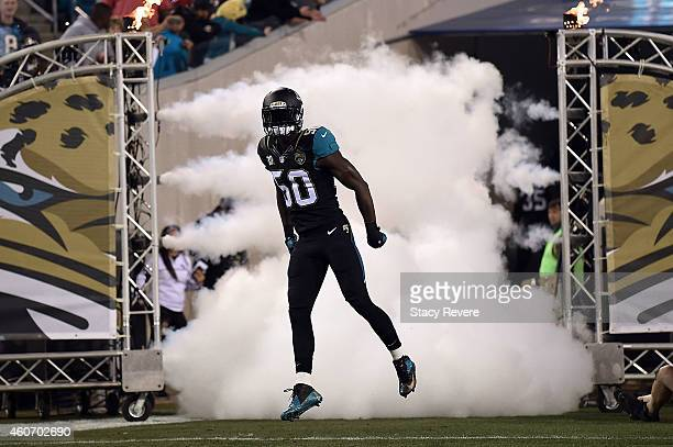 Telvin Smith of the Jacksonville Jaguars takes the field prior to a game against the Tennessee Titans at EverBank Field on December 18 2014 in...