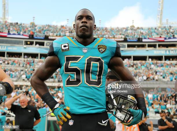 Telvin Smith of ther Jacksonville Jaguars waits in the bench area prior to the start of their game against the Cincinnati Bengals at EverBank Field...