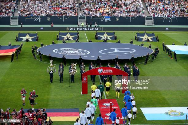 Tema enter the field of play for the FIFA 2018 World Cup Qualifier between Germany and San Marino at on June 10 2017 in Nuremberg Bavaria
