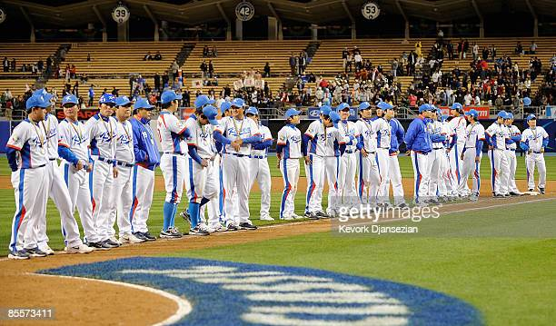 Tema Korea lineup to receive their silver medals in the 2009 World Baseball Classic against Japan on March 23 2009 at Dodger Stadium in Los Angeles...