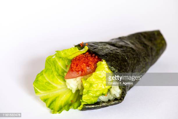 temaki (sushi cone) on white background - nori stock pictures, royalty-free photos & images