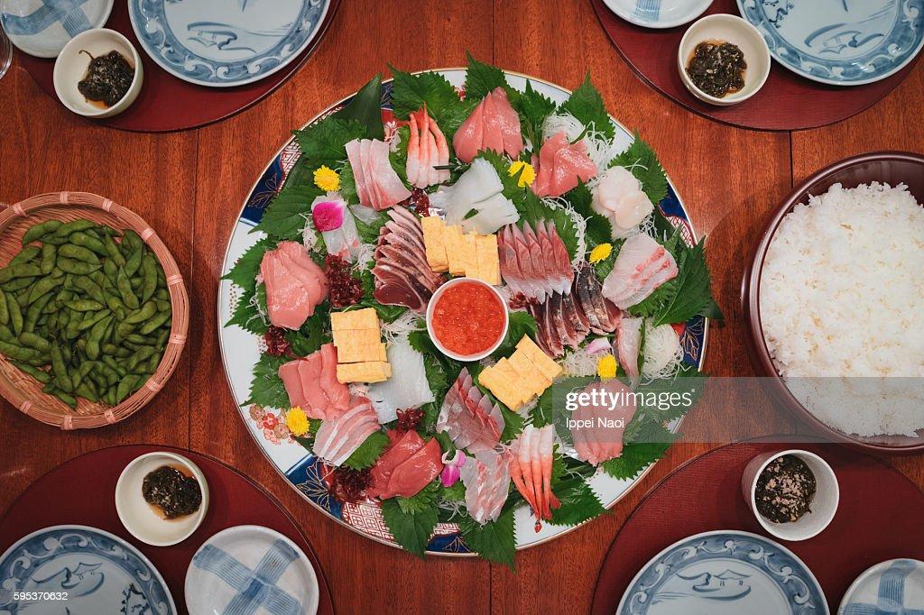 Temaki Sushi dinner at home : Stock Photo