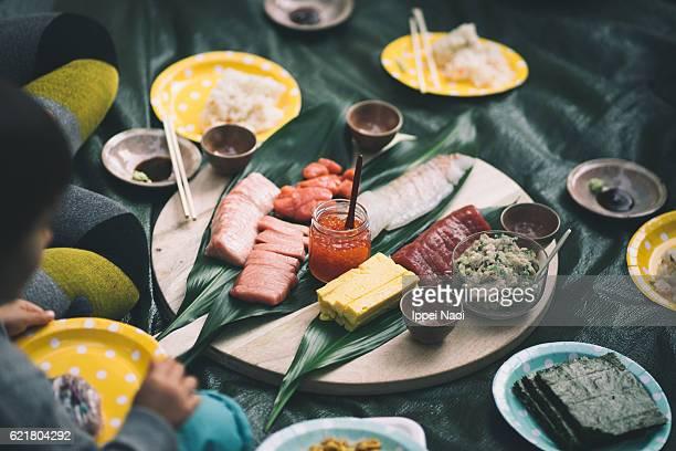 Temaki sushi handroll picnic with fatty bluefin tuna