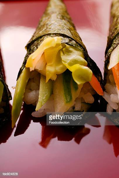 Temaki with vegetables and surimi