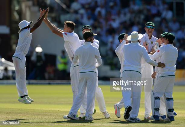 Temba Bavuma and Morne Morkel of South Africa celebrate after the dismissal of Keaton Jennings of England during day three of the 1st Investec Test...