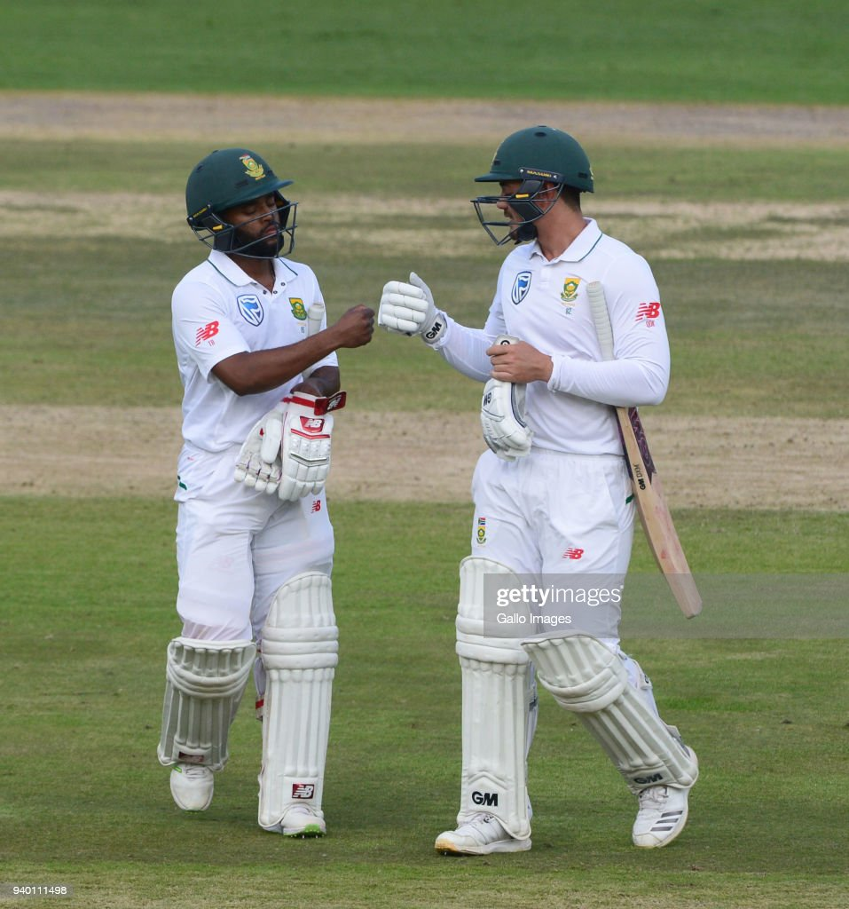 Temba Bavuma and Quinton de Kock of the Proteas during day 1 of the 4th Sunfoil Test match between South Africa and Australia at Bidvest Wanderers Stadium on March 30, 2018 in Johannesburg, South Africa.