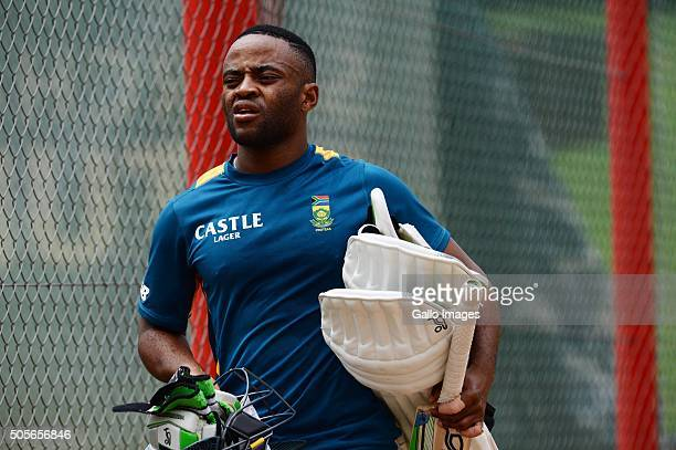 Temba Bavuma during the South African national cricket team training session at SuperSport Park on January 19 2016 in Pretoria South Africa