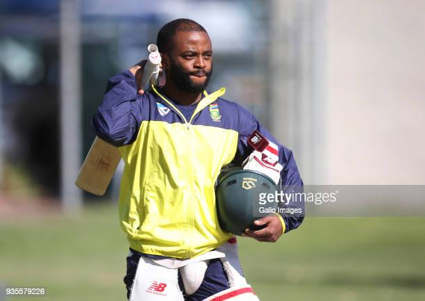 Temba Bavuma looks on during the South African cricket team training session at PPC Newlands Stadium on March 21, 2018 in Cape Town, South Africa.