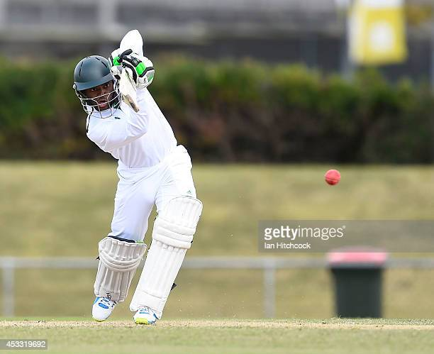 Temba Bavuma of South Africa 'A' bats during the match between Australia 'A' and South Africa 'A' at Tony Ireland Stadium on August 8 2014 in...