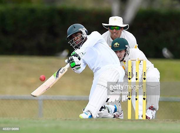 Temba Bavuma of South Africa 'A' bats in front of Peter Nevill of Australia 'A' during the match between Australia 'A' and South Africa 'A' at Tony...