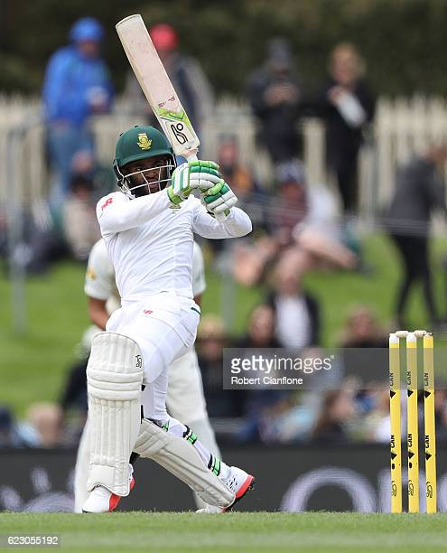 Temba Bavuma of South Africa bats during day three of the Second Test match between Australia and South Africa at Blundstone Arena on November 14...