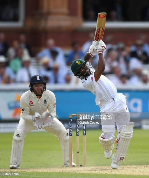 Temba Bavuma of South Africa bats during day two of the 1st Investec Test between England and South Africa at Lord's Cricket Ground on July 7 2017 in...