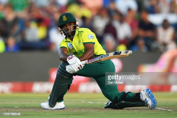 Temba Bavuma of South Africa bats during the First T20 International match between South Africa and England at Buffalo Park on February 12, 2020 in...