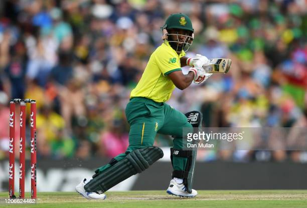 Temba Bavuma of South Africa bats during the Third T20 International match between South Africa and England at Supersport Park on February 16, 2020...
