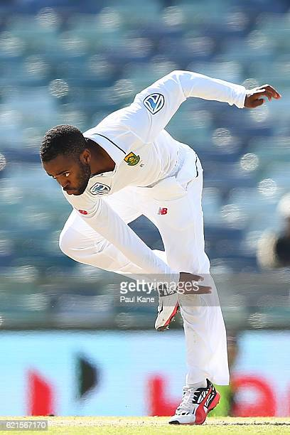 Temba Bavuma of South Africa bowls during day five of the First Test match between Australia and South Africa at the WACA on November 7 2016 in Perth...