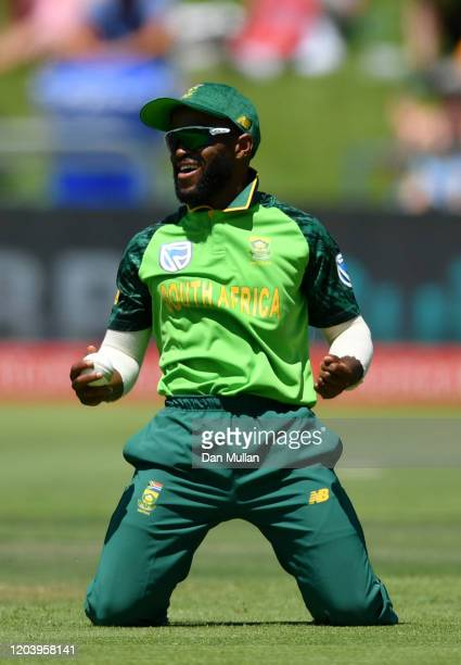 Temba Bavuma of South Africa celebrates after taking the catch of Eoin Morgan of England during the First One Day International match between South...