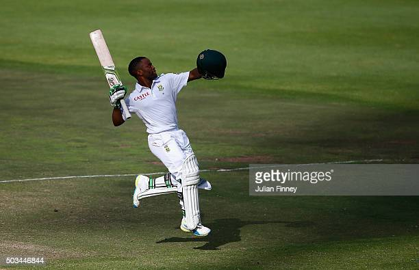 Temba Bavuma of South Africa celebrates his century during day four of the 2nd Test at Newlands Stadium on January 5 2016 in Cape Town South Africa