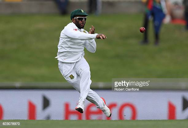 Temba Bavuma of South Africa fields during day three of the Second Test match between Australia and South Africa at Blundstone Arena on November 14...