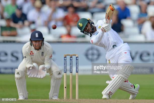 Temba Bavuma of South Africa hits the ball in the air and is caught as Jonny Bairstow of England looks on during the third day of the 2nd Investec...