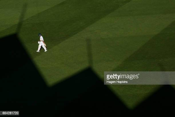 Temba Bavuma of South Africa leaves the field after being dismissed during day two of the test match between New Zealand and South Africa at Basin...