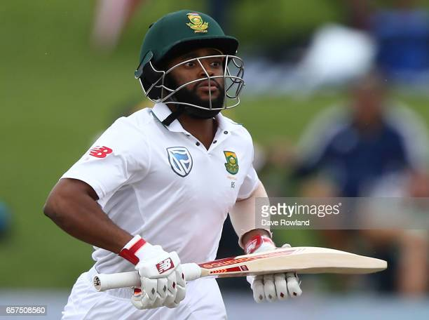 Temba Bavuma of South Africa makes a run whilst batting during day one of the Test match between New Zealand and South Africa at Seddon Park on March...