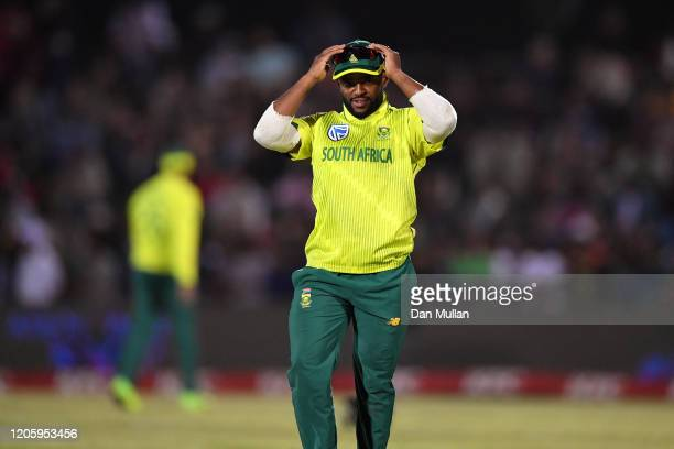 Temba Bavuma of South Africa react during the first T20 International match between South Africa and England at Buffalo Park on February 12, 2020 in...