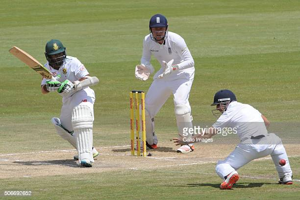 Temba Bavuma of the Proteas get the ball past James Taylor of England during day 4 of the 4th Test match between South Africa and England at...