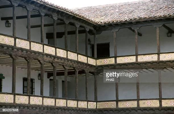 Tembleque province of Toledo CastileLa Mancha Spain Wood corridors in the Main Square Castilian architecture design of openair theatres On top of the...
