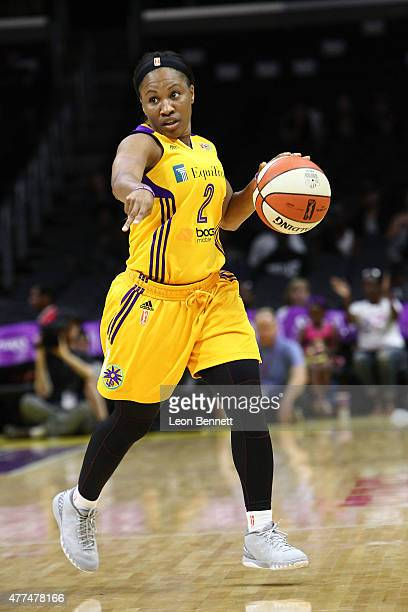 Temeka Johnson of the Los Angeles Sparks brings the ball up court against the Minnesota Lynx at Staples Center on June 16 2015 in Los Angeles...