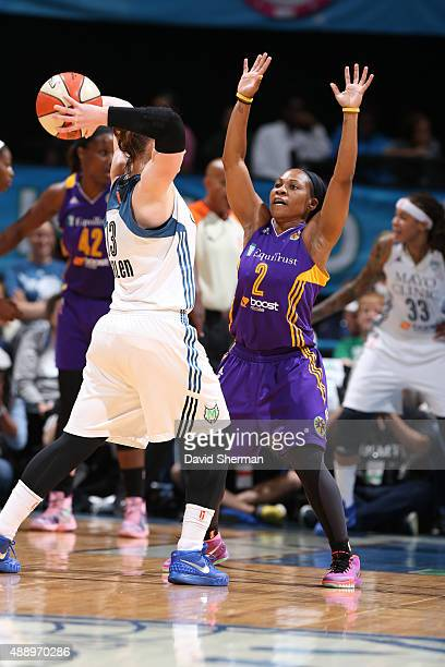 Temeka Johnson of the Los Angeles Sparks defends against the Minnesota Lynx during Game 1 of the 2015 WNBA Western Conference Semifinal on September...