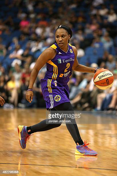 Temeka Johnson of the Los Angeles Sparks dribbles the ball against the Minnesota Lynx on July 29 2015 at Target Center in Minneapolis Minnesota NOTE...