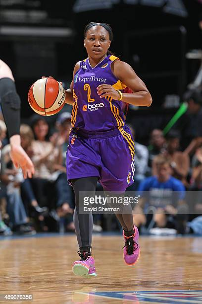 Temeka Johnson of the Los Angeles Sparks dribbles the ball against the Minnesota Lynx during Game Three of the WNBA Western Conference Semifinal on...