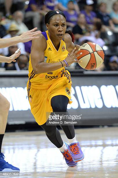 Temeka Johnson of the Los Angeles Sparks drives to the basket during Game Two of the WNBA Western Conference Semifinals at the Walter Pyramid on the...