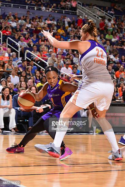 Temeka Johnson of the Los Angeles Sparks handles the ball against Cayla Francis of the Phoenix Mercury on August 21 2015 at the Talking Stick Resort...