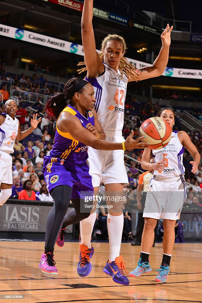 Temeka Johnson #2 of the Los Angeles Sparks makes a pass against Brittney Griner #42 of the Phoenix Mercury on September 11, 2015 at the US Airways Center in Phoenix, Arizona.