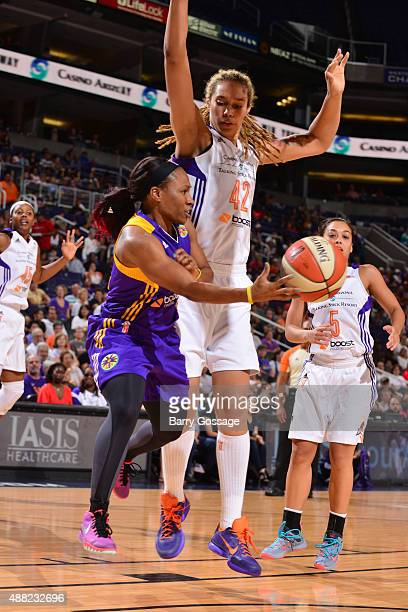 Temeka Johnson of the Los Angeles Sparks makes a pass against Brittney Griner of the Phoenix Mercury on September 11 2015 at the US Airways Center in...