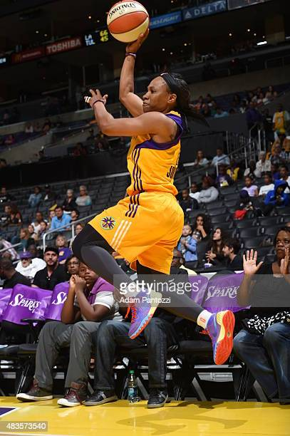 Temeka Johnson of the Los Angeles Sparks passes the ball against the Tulsa Shock at Staples Center on August 06 2015 in Los Angeles California NOTE...